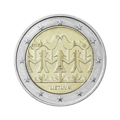 """LITHUANIA commemorative UNC 2 EURO coin 2018  /""""Song and Dance Festival/"""""""