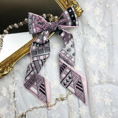 Fairyland Deer Red Twilly Scarf Long Hair Tie Ribbon Handbag purse handle Wrap