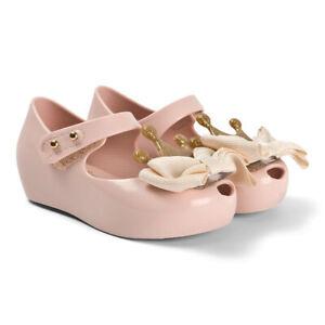 Mini Melissa Kids Crown Princess Bow B Pink Water Resistant Mary Jane Flats