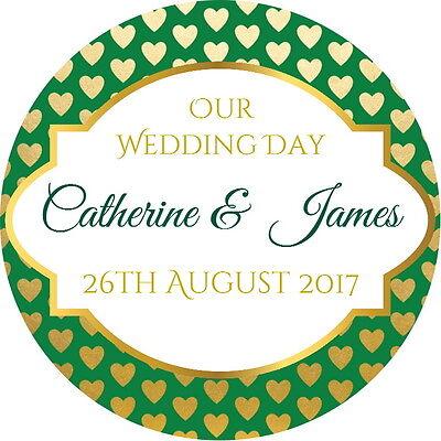 Oro/verde Lucido Matrimonio, Favore Grazie Etichette, Personalizzato Con Qualsiasi Testo-mostra Il Titolo Originale