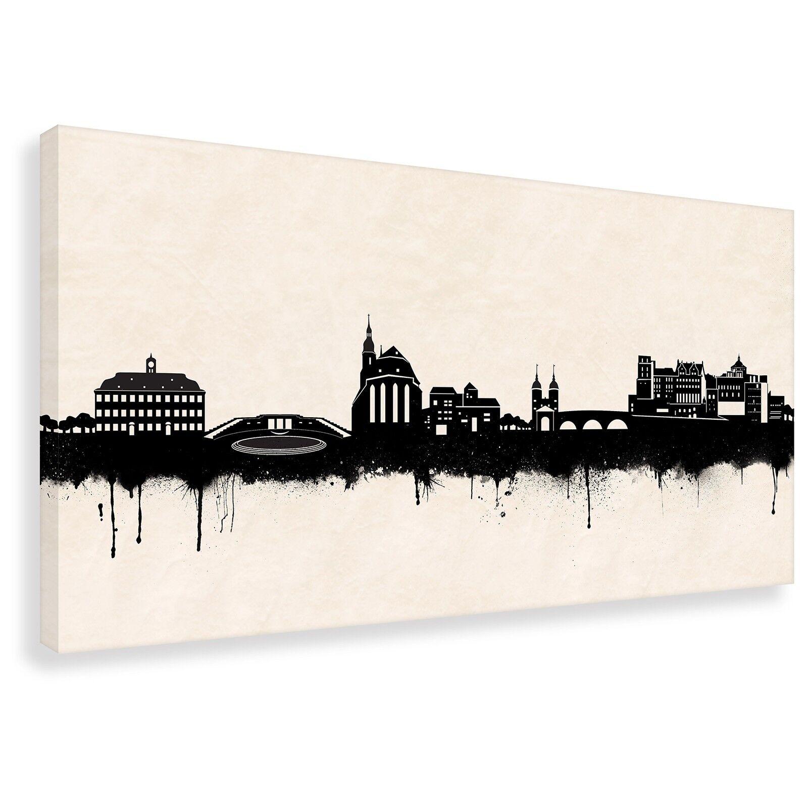 Kunstdruck auf Leinwand -Street Art- Skyline Heidelberg SW (div. Größen) Bild