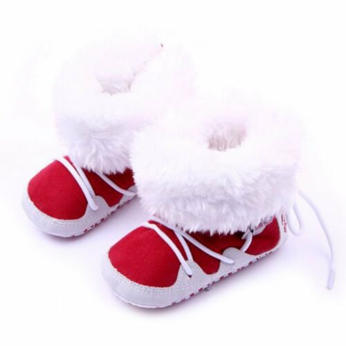 0-12 M Newborn Girls Winter Warm Hairy Boots Toddler Infant Soft Crib Sole Shoes