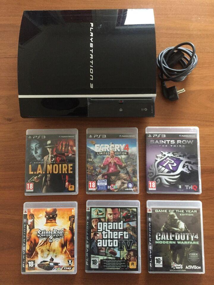 Playstation 3, 80 GB HDD, 6 spil