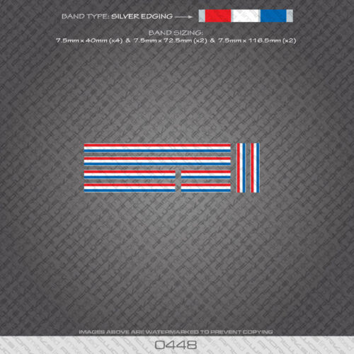 Bicycle Decals Stickers 0448 French Separation Stripes Bands Silver Edges