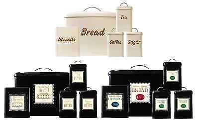 Mowell Farm 5 PC Black Bread Bin Set Utensil Tea Coffee Sugar Jar Canister Set