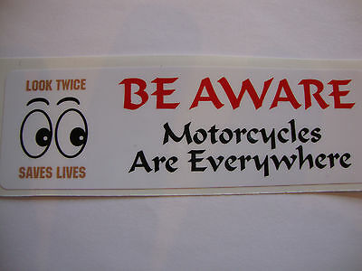 2  BE AWARE MOTORBIKE HELMET STICKERS 35mm x 110mm     YAMAHA SUZUKI IOM TT