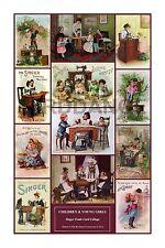 Singer Toy Sewing Machine wall art CARD COLLAGE CHILDREN & GIRLS