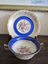 Rosenthal Ivory Bavaria Germany Creame Soup Bowl And Saucer Cobalt Blue Flowers
