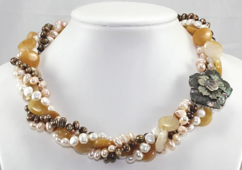 4Strands Natural Akoya Cultured Pearl /& topaz beads Necklace 18/'/'