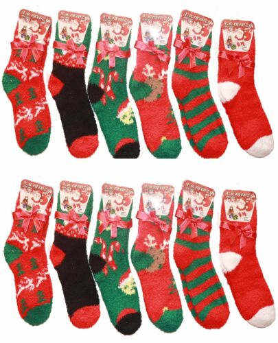 2 PAIRS WOMEN LADIES GIRLS XMAS COZY SOCKS NOVELTY FLUFFY SOFT BED SOCKS UK 4-7