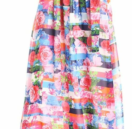 Jessica Simpson Halter Blouson Maxi Dress Womens size 2 Colorful Chiffon xs