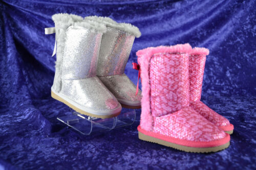 Toddler Girl Zodiac LIL CHARLIE Winter Boots Sequin Glitter PINK SILVER 5 6 7