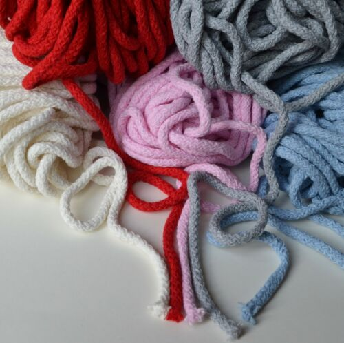 bags pads rugs Soft 100/% cotton cord 5.5 mm diameter 11 colours crocheting