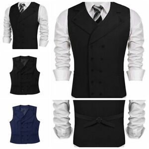 Men-039-s-Suit-Vest-V-Neck-Double-Breasted-Work-Sleeveless-Business-Dress-Waistcoat
