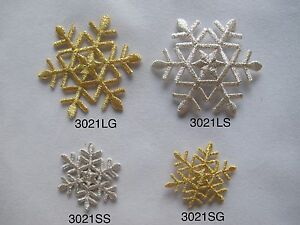 3021-Golden-Silver-Snowflake-Snow-Embroidery-Embroidery-Iron-On-Applique-Patch