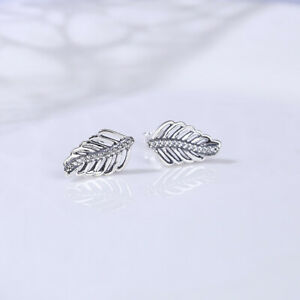 Authentic-100-925-Sterling-Silver-Shimmering-Feathers-Clear-CZ-Stud-Earrings