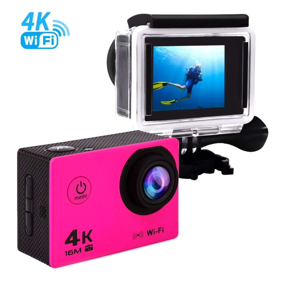 Camera Waterproof Action Cameras Video Underwater WiFi HD 1080P 4K Pink w/ accs Featured