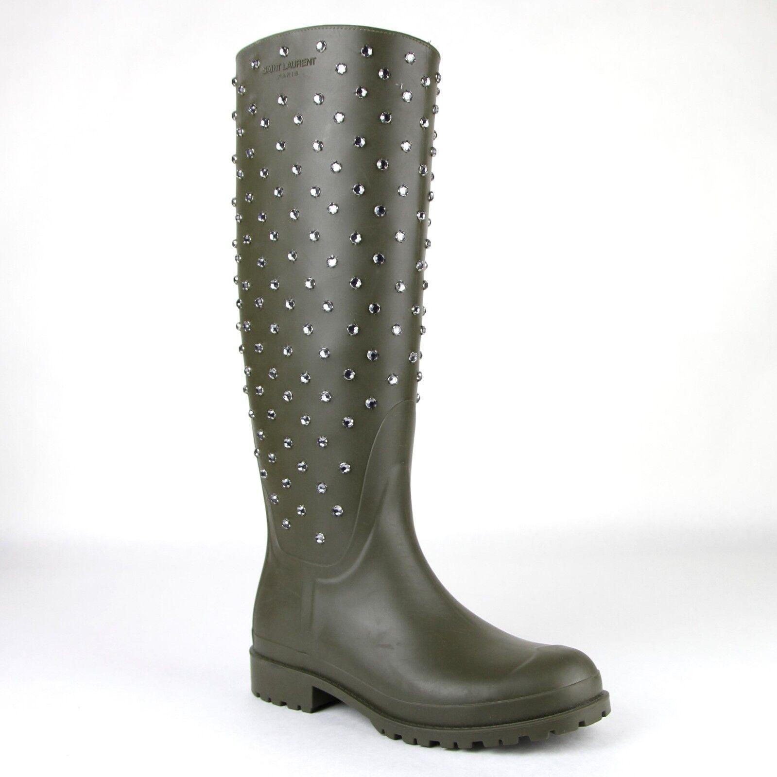 Saint Laurent Donna Olive verde Rubber Rain Boots w/diamond Studs 427307 2906