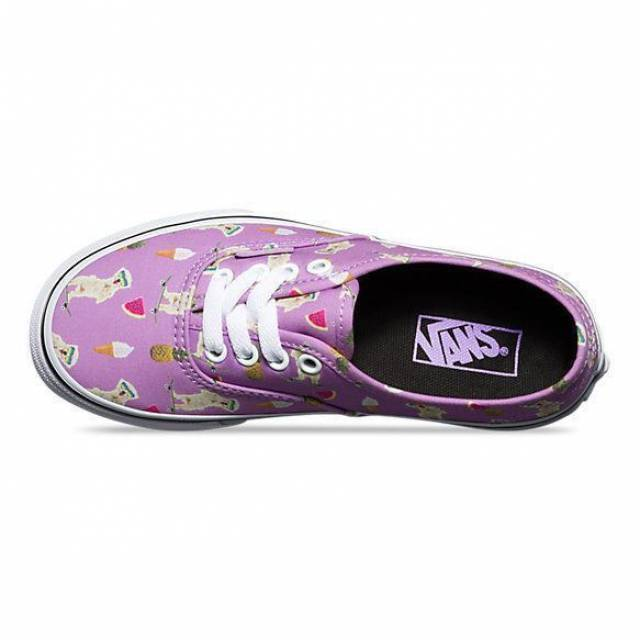 Vans Authentic Pool Vibes African Violet Women's 7 Skate Shoes Dogs Food