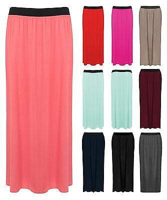 Womens Plus Size Long Plain Stretch Bodycon Gypsy Jersey Maxi Dress Ladies Skirt