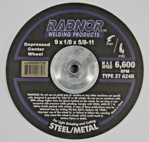 "Radnor Depressed Center Wheel 9/"" 9 x 1//8 x 5//8-11 Type 27 A24R Grinding 64000730"