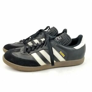 Mens ADIDAS Samba Black   White Leather Soccer Shoes Sneakers SIZE ... 6b6fd0e23