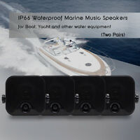 4xwaterproof Marine Box Speakers Boat Surface Mounted Stereo Motorcycle Atv Utv