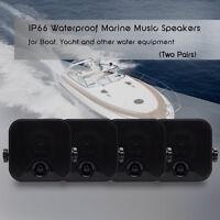 4xwaterproof Marine Box Speakers Boat Surface Mounted Stereo Motorcycle Atv Utv
