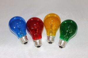 4 Pack Different Color Light Bulb 25 Watt Blue Green Yellow Red Fast Shipping