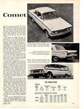 1962 MERCURY COMET ~ ORIGINAL NEW CAR PREVIEW ARTICLE / AD