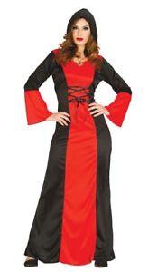 Nero Rosso Gothic Costume Regina Rinascimento Medievale Tutor Abito ... 0d6dbddcb1e