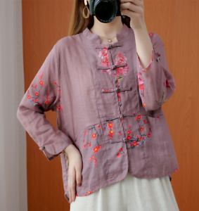 Vintage Style Women Buttons Front Floral Jacket Shirt Chinese Tang Tops US M