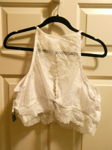 Details about  /RENE ROFE WHITE HIGH NECK LACE RACERBACK BRALETTE BRA   SIZE 2X NEW