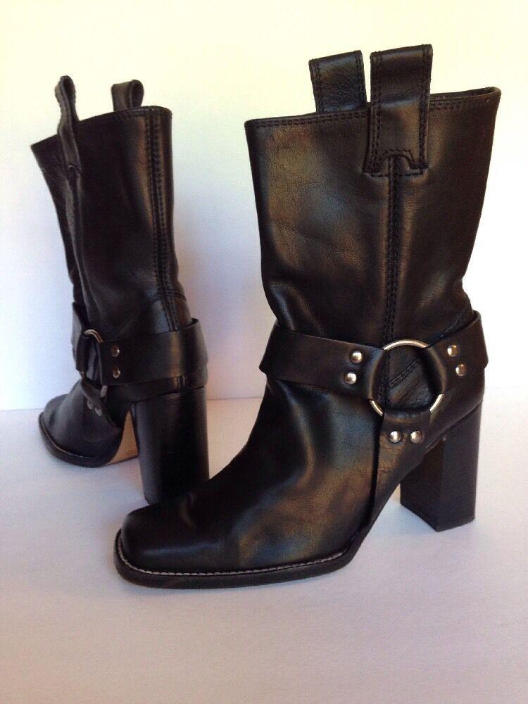 Arnés Moto botas de cuero negro Rangoni para mujeres tamaño 6.5 B 3.5  talón de Italia