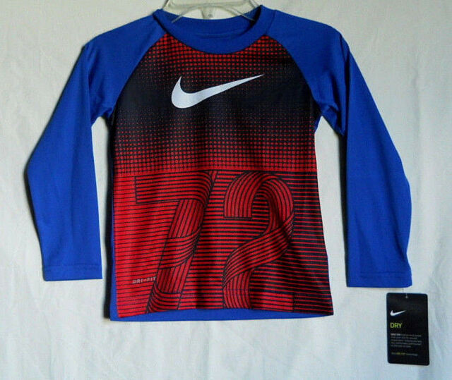 6a1959ca0d03 The Nike Tee Athletic Cut Dri-fit Boys L s T-shirt Red blue 100 ...