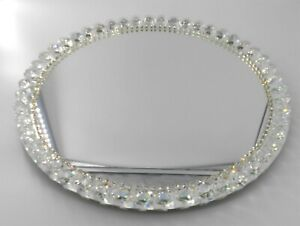 Round-mirror-tray-with-crystal-and-rhinestone-designed-border-Cookie-or-desert