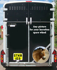 PERSONALISED HORSE BOX TRAILER SPARE WHEEL COVER STICKER LAMINATED ANY PICTURE