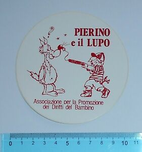 ALTER-AUFKLEBER-ADESIVO-STICKER-PIERINO-E-IL-LUPO-ANNI-039-80-VINTAGE-10x10-cm