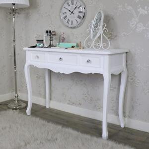 In legno bianco decorata CONSOLE TAVOLINO da TOELETTA Shabby Chic ...