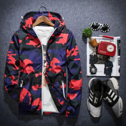 Men/'s Slim Camo Hoodie Thin Hooded Sweatshirt Coat Jacket Sport Outwear