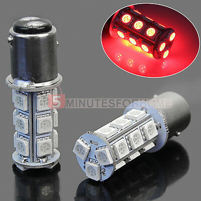 2× 1157 SMD 5050 18 Red LED Flash Car Vehicle Brake Tail Stop Light Lamp Bulb
