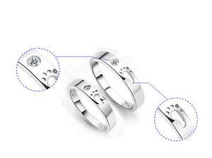 dc35f9f03 Image is loading 1PCS-Platinum-Plate-Foot-Logo-Rhinestone-Couple-Band-