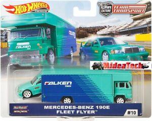 Hot-Wheels-2019-Team-Transport-Mercedes-Benz-190E-w-Fleet-Flyer-034-FALKEN-034-1-64