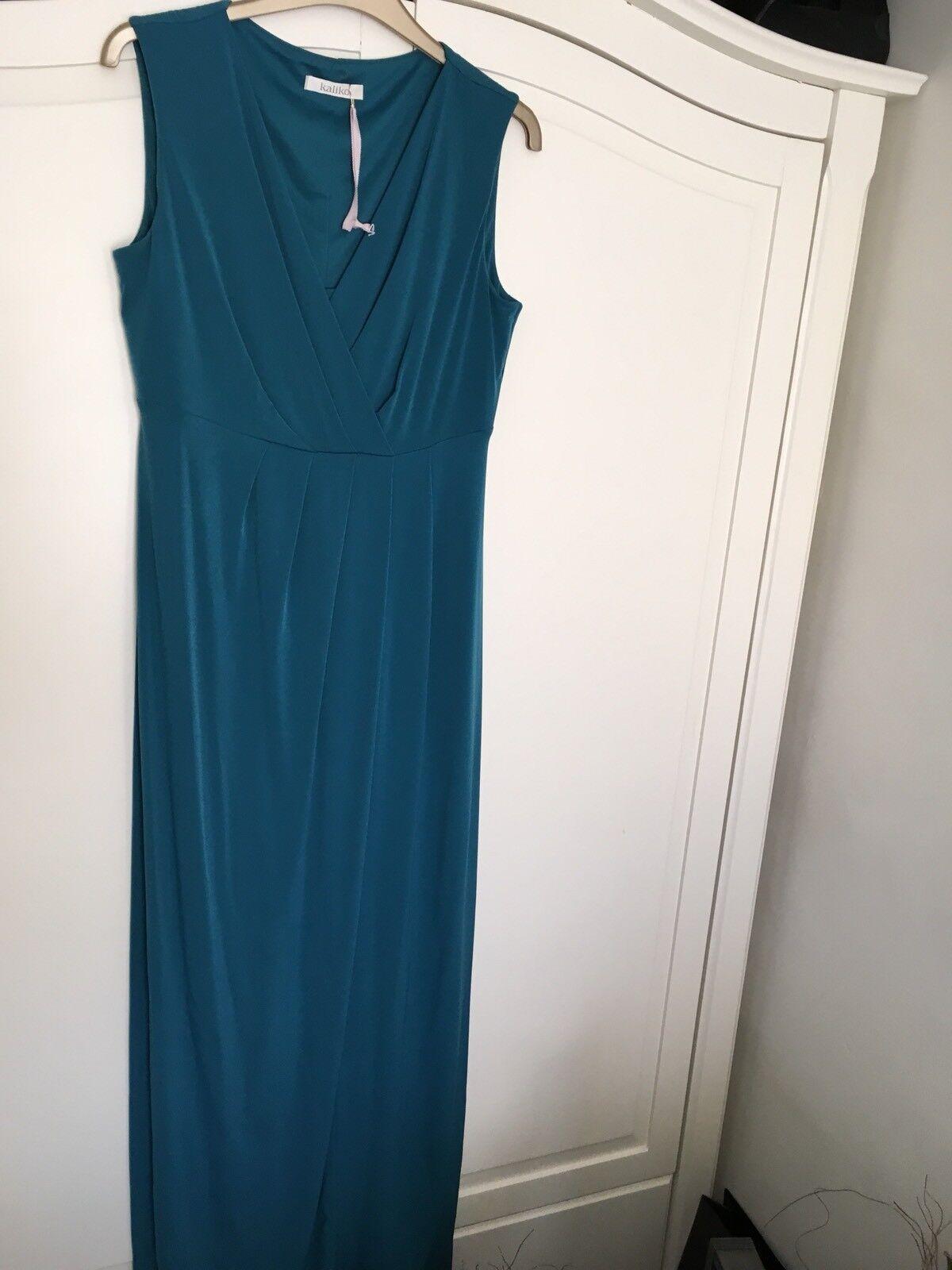 Ladies Green Kaliko Maxi Dress And Shrug Size 10