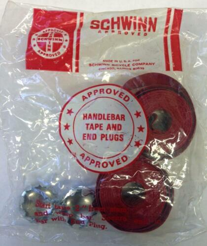 Schwinn RED road bike HANDLEBAR TAPE and CHROME plugs Varsity Paramount