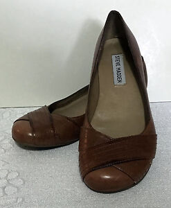 283e32e4b19 Details about Steve Madden leather low Wedge Heels Round Toe Pump sz 6M L508