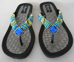 7c15d6994c08 Image is loading GRANDCO-SANDALS-Beach-Pool-THONG-BLING-Blue-amp-