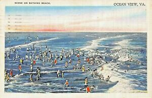 OCEAN-VIEW-VIRGINIA-SCENE-ON-BATHING-BEACH-1937-POSTMARK-POSTCARD