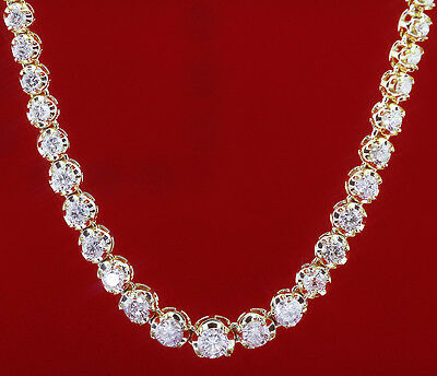 CERTIFIED DIAMOND LADIES GRADUATED 6.00CT TENNIS NECKLACE IN 14K YELLOW GOLD