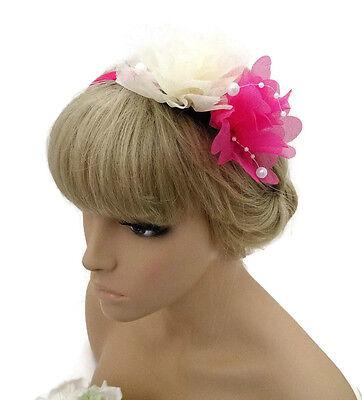 Pretty Pink & Cream Chiffon Look Fascinator Headband Alice Band with Pearl Beads